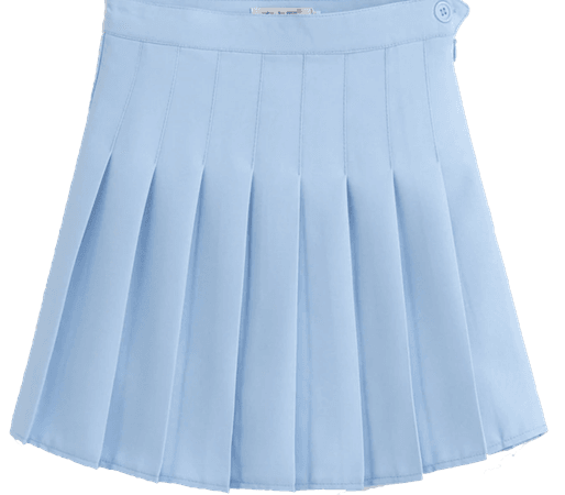 Sky Blue Pleated Skirt