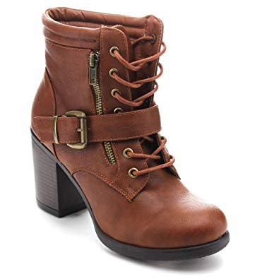 Buckle Strap Brown Ankle Combat Boot Chunky Heel