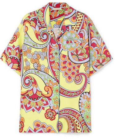 Printed Silk Shirt - Yellow
