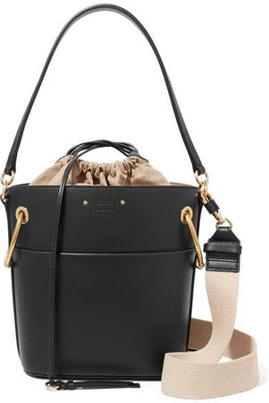 Roy Small Leather Bucket Bag - Black