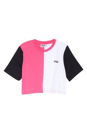 FILA Prudence Colorblock Crop T-Shirt   Magenta/ White/ Black