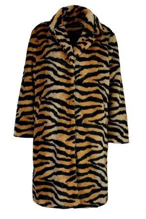 Plus Tiger Print Faux Fur Coat | Boohoo brown black