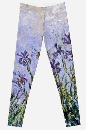 """""""Claude Monet - Iris Mauves"""" Leggings by artcenter   Redbubble"""