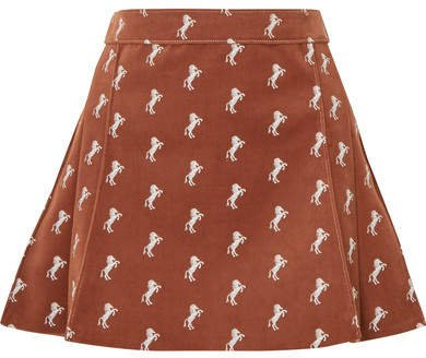 Pleated Embroidered Cotton-blend Velvet Mini Skirt - Brown