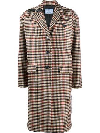 Prada houndstooth single-breasted coat