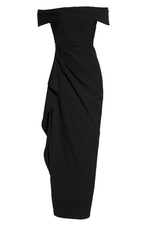 Vince Camuto Off the Shoulder Crepe Gown black