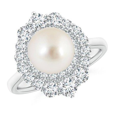 South Sea Pearl & Graduated Diamond Halo Ring