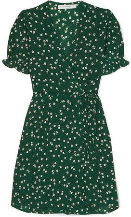 Mira Floral-print Crepe De Chine Wrap Mini Dress - Dark green