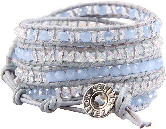 KELITCH Blue Crystal Beaded Charm Bracelet on Gray Leather 5 Wrap Bracelets Handmade Jewelry: Jewelry