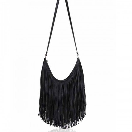 fringed black bag