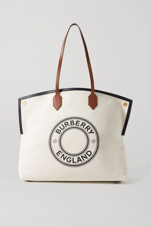 Ecru Large leather-trimmed printed canvas tote | Burberry | NET-A-PORTER