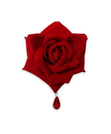 Gothic Red Rose Hair Clip