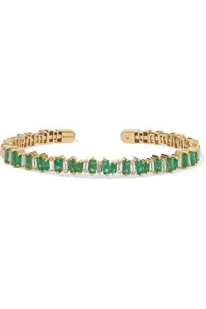 Suzanne Kalan | 18-karat gold, emerald and diamond cuff | NET-A-PORTER.COM