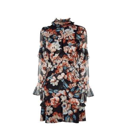 "NICHOLAS Multicolor ""Lola"" Floral Silk Ruffle Short Casual Dress"