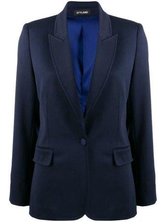 Styland Fitted Fine Knit Blazer W103191685 Blue   Farfetch