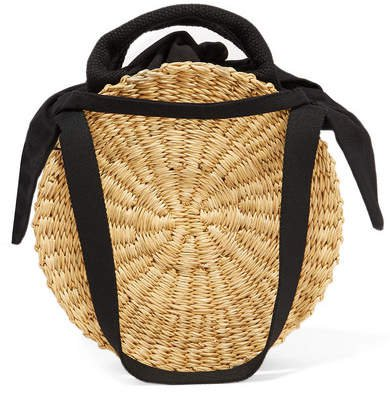 Rosa Straw And Cotton-canvas Tote - Beige