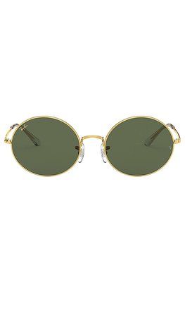 Ray-Ban Round Circle Metal in Legend Gold & Green | REVOLVE