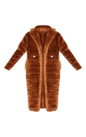 Tall Brown Faux Fur Long Line Coat   Tall   PrettyLittleThing
