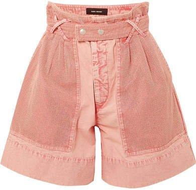 Twen High-rise Mesh-paneled Denim Shorts - Pink