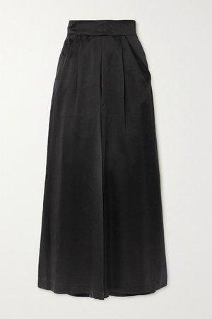 Sabrina Silk-satin Wide-leg Pants - Black