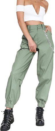 TOLENY Women's High Waist Jogger Cargo Pants Loose Tapered Workout Operator Pants Trousers with Pockets L Green at Amazon Women's Clothing store