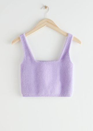 Fitted Ribbed Crop Top - Lilac - Tanktops & Camisoles - & Other Stories
