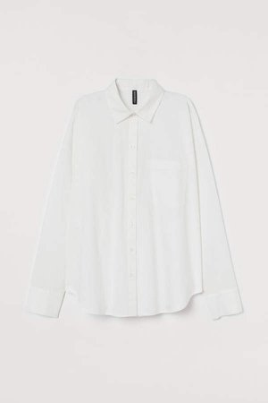 Boxy Cotton Shirt - White