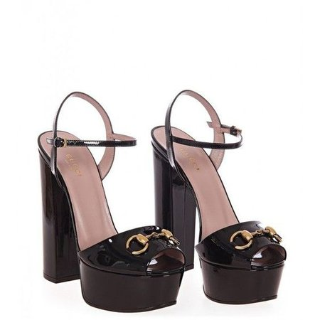 Gucci Black Patent Leather Platform Sandals