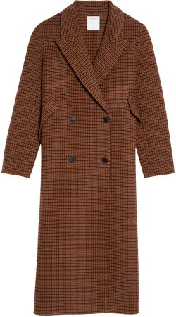 Check Wool Blend Coat