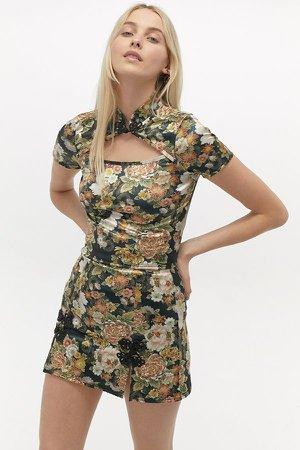 UO Floral Cutout Mock Neck Top