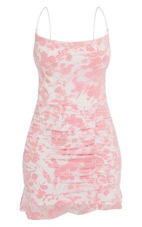 Pink Flocked Strappy Frill Hem Bodycon Dress | PrettyLittleThing USA