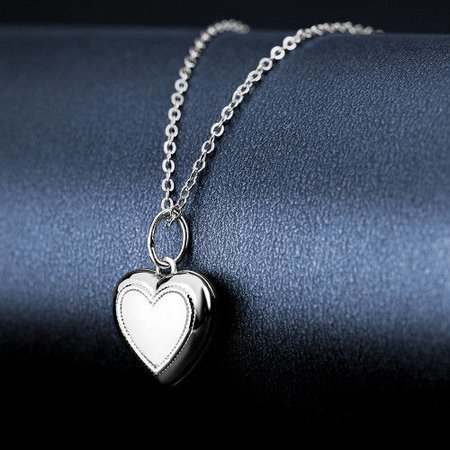 Halloween Skeleton Skull Heart Printing Locket Necklace Platinum Plated1