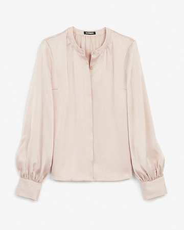 Satin Collarless Balloon Sleeve Button Up Shirt | Express