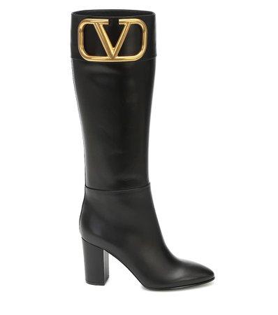 Valentino - Valentino Garavani Supervee leather knee-high boots | Mytheresa