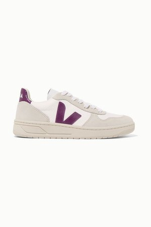 V-10 Rubber And Leather-trimmed Mesh And Suede Sneakers - White