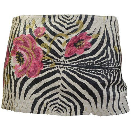 Roberto Cavalli Zebra Floral Painted Snakeskin Micro Mini Skirt For Sale at 1stdibs