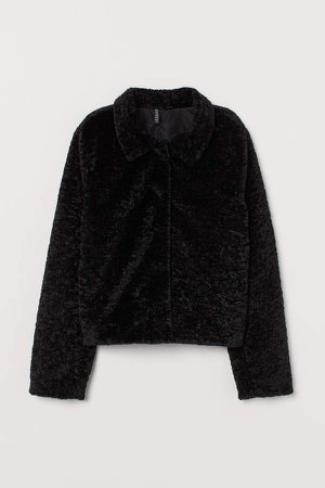 Short Faux Fur Jacket - Black