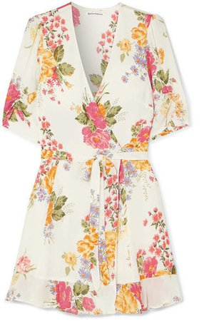Monica Floral-print Georgette Mini Wrap Dress - Ecru