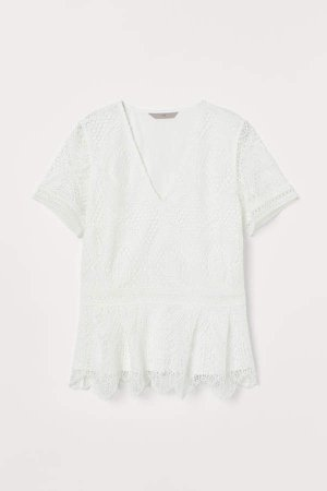 V-neck Lace Top - White