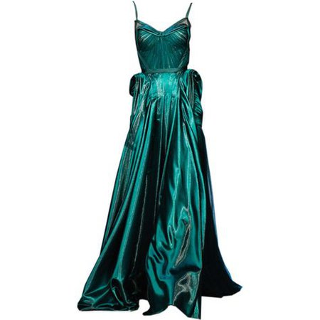 Teal Couture Evening Gown
