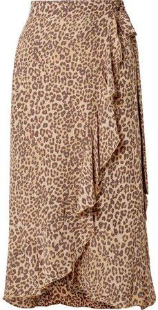 Celeste Ruffled Leopard-print Crepe Wrap Skirt - Leopard print
