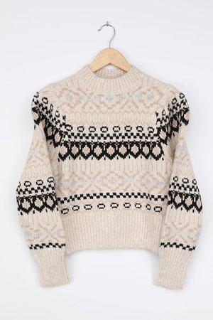 ASTR the Label Maria - Beige Fair Isle Sweater - Knit Sweater