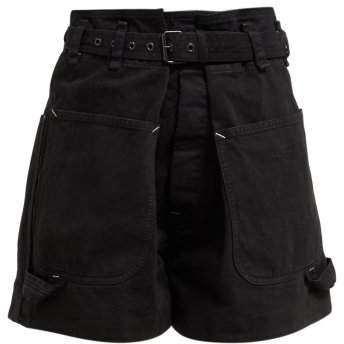 Ike Paperbag Waist Belted Cotton Shorts - Womens - Black