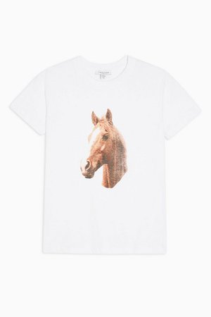 Horse Print T-Shirt in White | Topshop