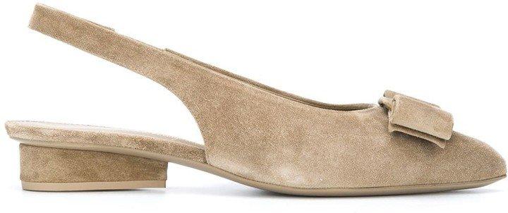 Sling-Back Bow Suede Sandals
