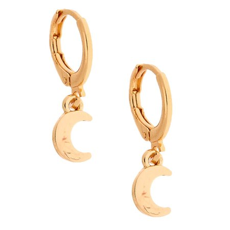 Gold 10MM Moon Huggie Hoop Earrings | Claire's US