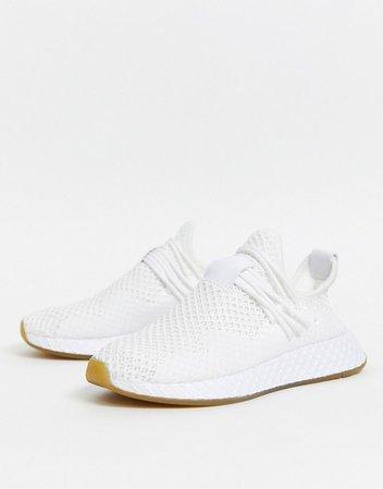adidas Originals Deerupt sneakers in triple white | ASOS