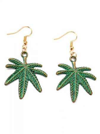 Alloy Coconut Leaf Earrings GREEN: Earrings | ZAFUL