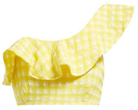 Mahogany Checked One Shoulder Bikini Top - Womens - Yellow
