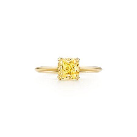 Ring in 18k gold with a cushion-cut yellow diamond. | Tiffany & Co.